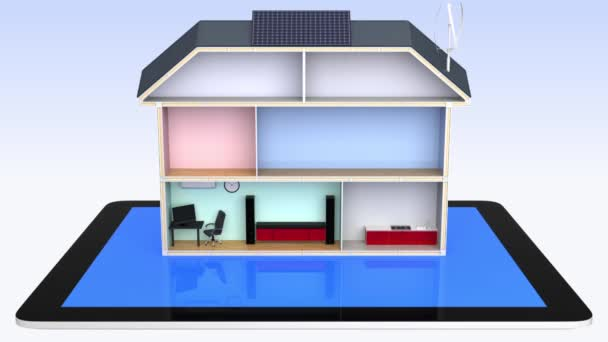 Smart house with energy efficient appliances, solar panels. Control by tablet PC