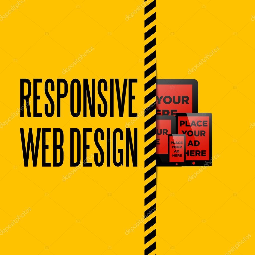 anuncio de plantilla de diseño web sensible — Vector de stock ...