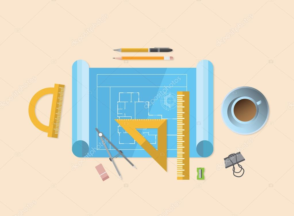 Blueprint With Various Architecture Tools Stock Vector 46225039