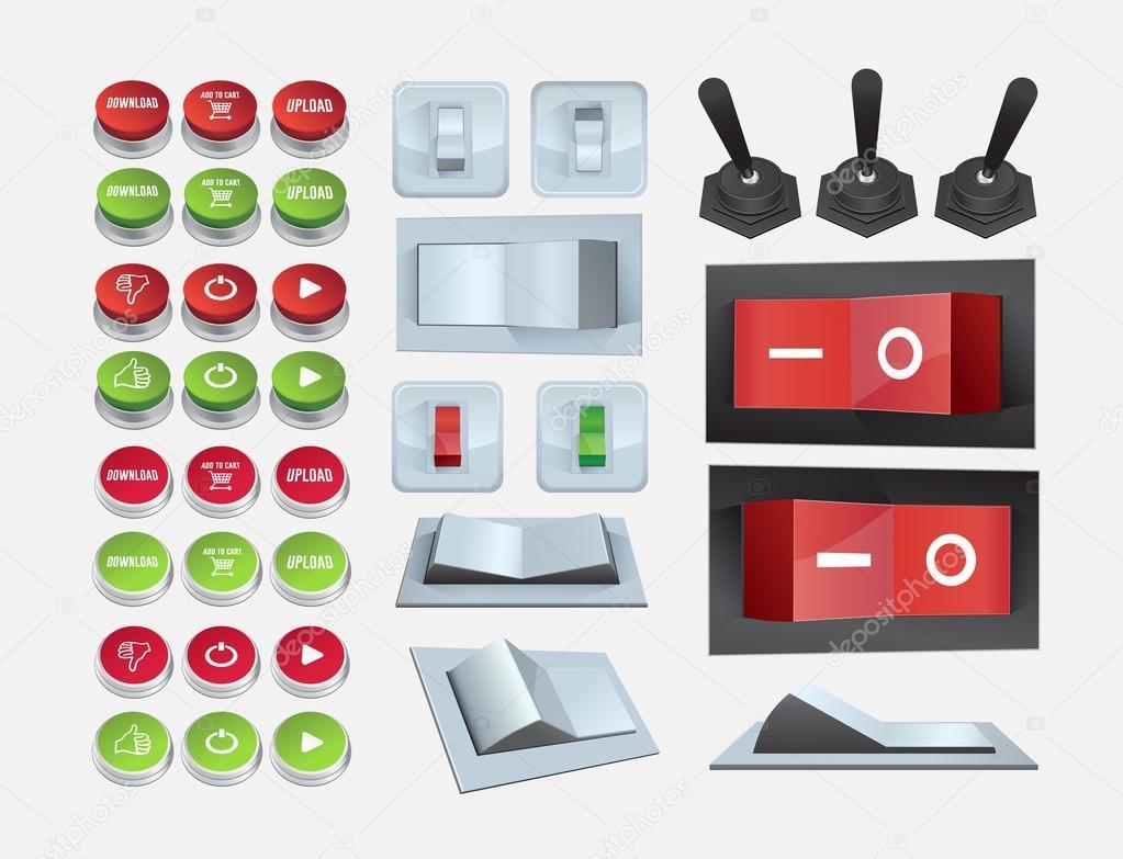 ein- und Ausschalten Schalter Symbole — Stockvektor ...