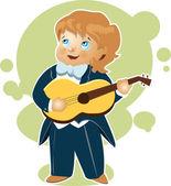 Kleiner Junge spielt Gitarre Cartoon