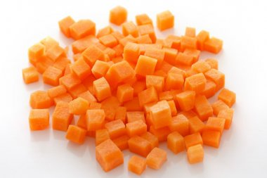 Diced carrots on white