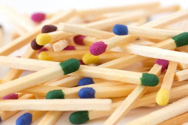 Pile of mixed colored match sticks