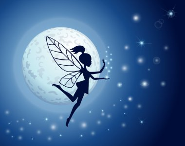 SILHOUETTE FAIRY AGAINST A GLOWING MOON WITH SPARKLES ON BLUE stock vector