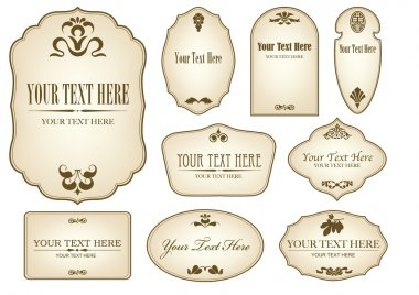 AGED LABELS WITH FLORAL DESIGNS