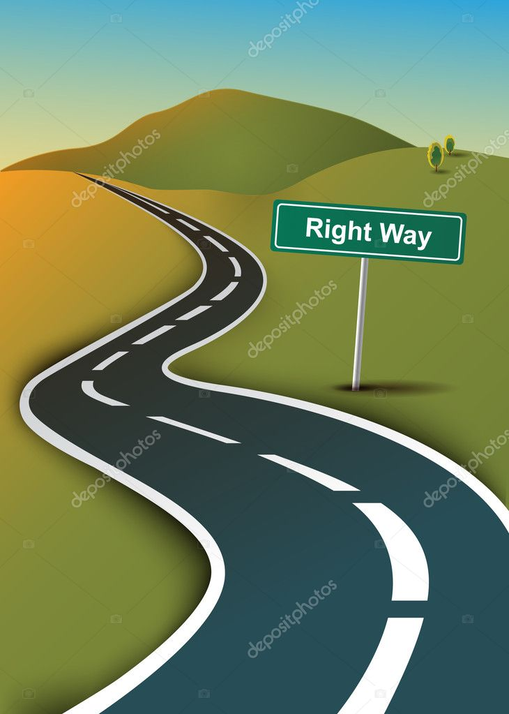 ROAD WITH A RIGHT WAY SIGN