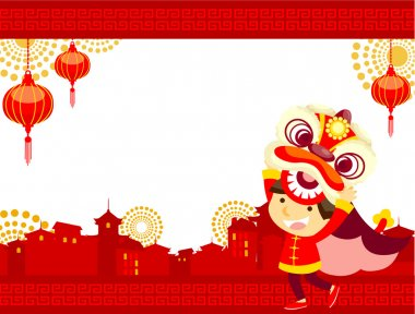 Chinese new year greeting card ,Lion Dance stock vector