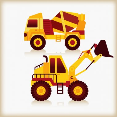 Concrete mixer truck and loaders