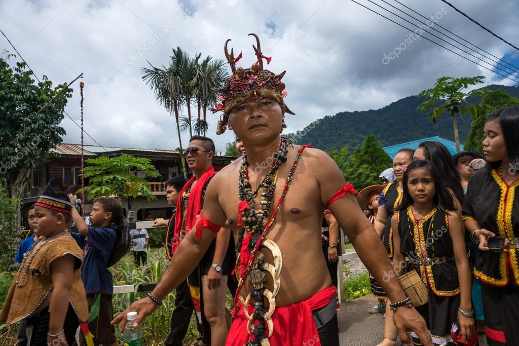 Sarawak Malaysia June 1 2014 People Of The Bidayuh Tribe An Indigenous Native People Of Borneo In Traditional Costumes Take Part In A Street Parade To Celebrate The Gawai Dayak Festival