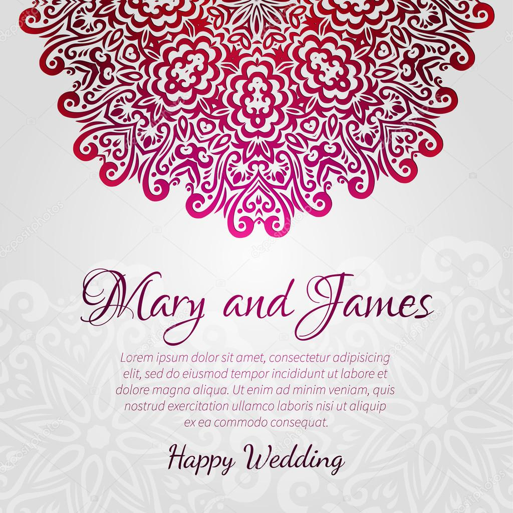 lacy vector wedding card template. abstract circle floral ornament ...