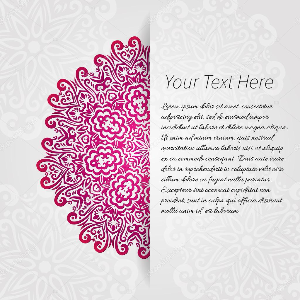 Lacy vector wedding card template. abstract circle floral ornament. good for birthday or baby shower invitation. ethnic design