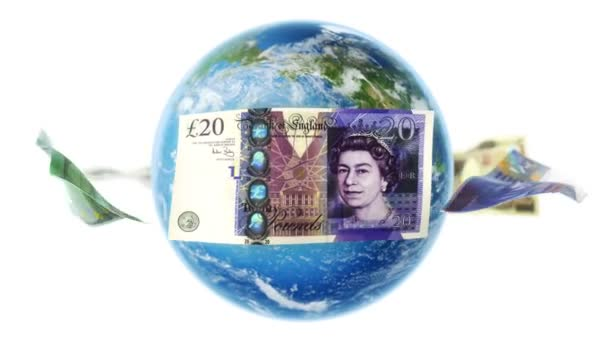 Banknotes Around Earth on White (Loop)