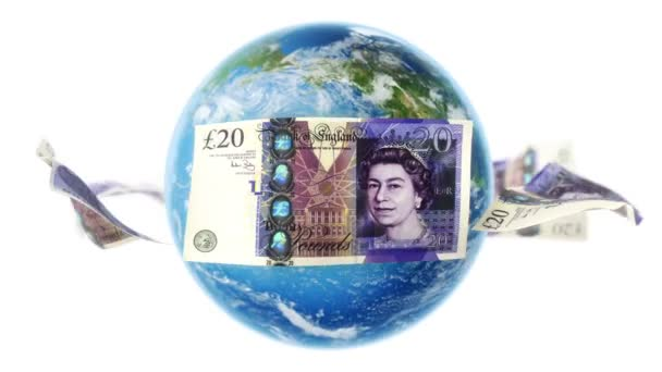 GBP Banknotes Around Earth on White (Loop)