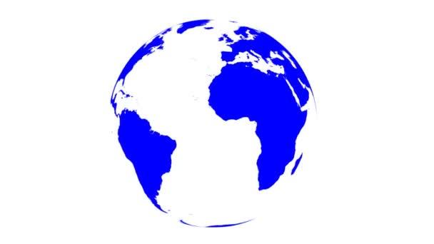 mapa světa zalomí na spinning světě (bílé pozadí)