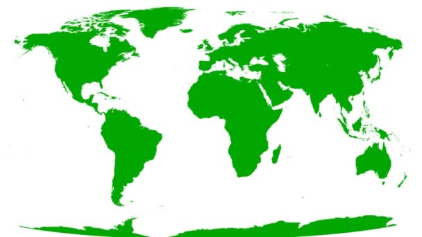 World Map Wraps to Spinning Globe (white background)