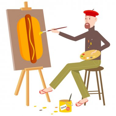 Artist painting a hot dog