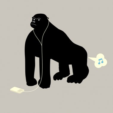 Gorilla listening to music