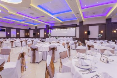 Banquet hall with colorful lights