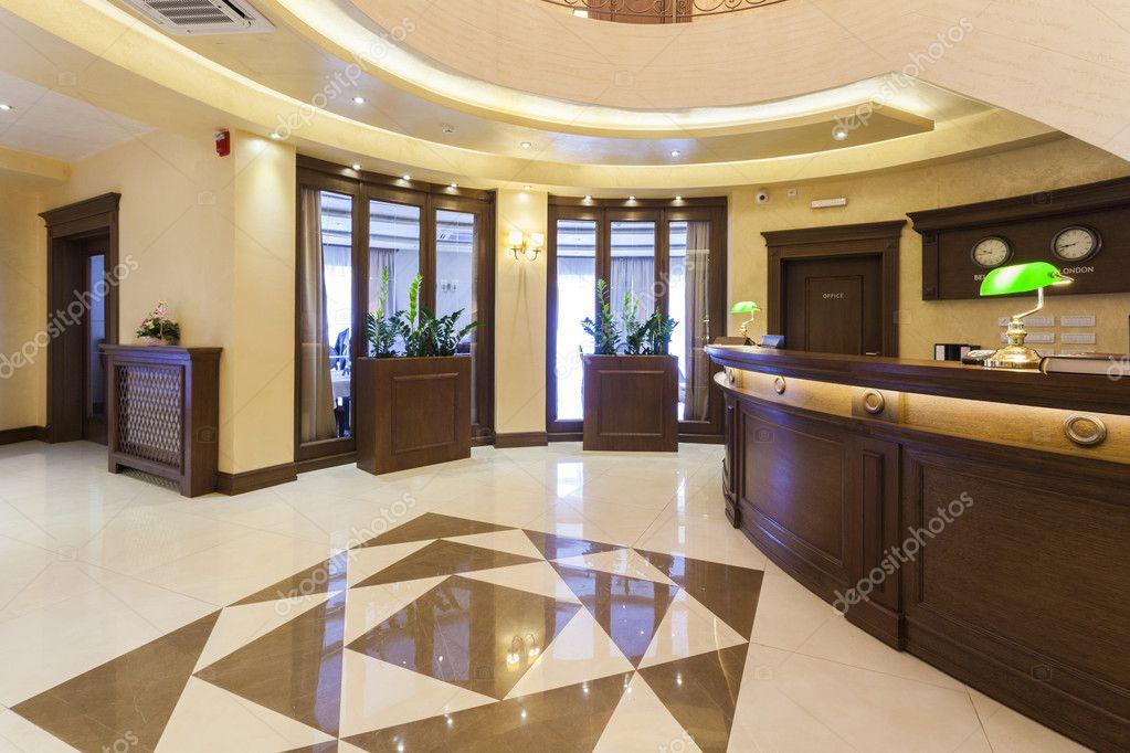 High Quality Luxury Hotel Lobby With Reception Desk U2014 Stock Photo