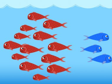 Illustration (vector) of two schools of fish, one red and one blue. stock vector