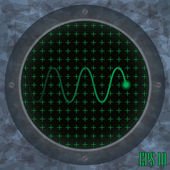 oszcilloszkóp képernyőjén zöld hullámos Trace.