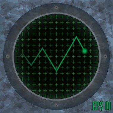 Oscilloscope screen with a zig-zag trace.