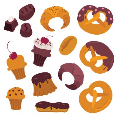 bagels baking muffins cupcakes cakes vector set design elements