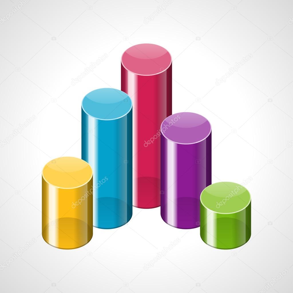 cilindros de colores 3d gráfica ilustración vectorial infografía