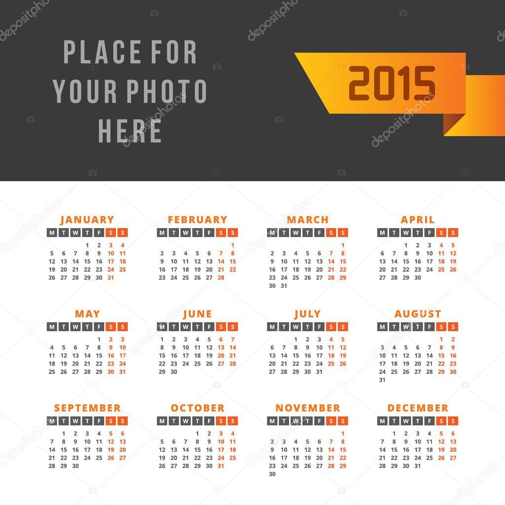 plantilla de diseño vector calendario 2015 — Archivo Imágenes ...