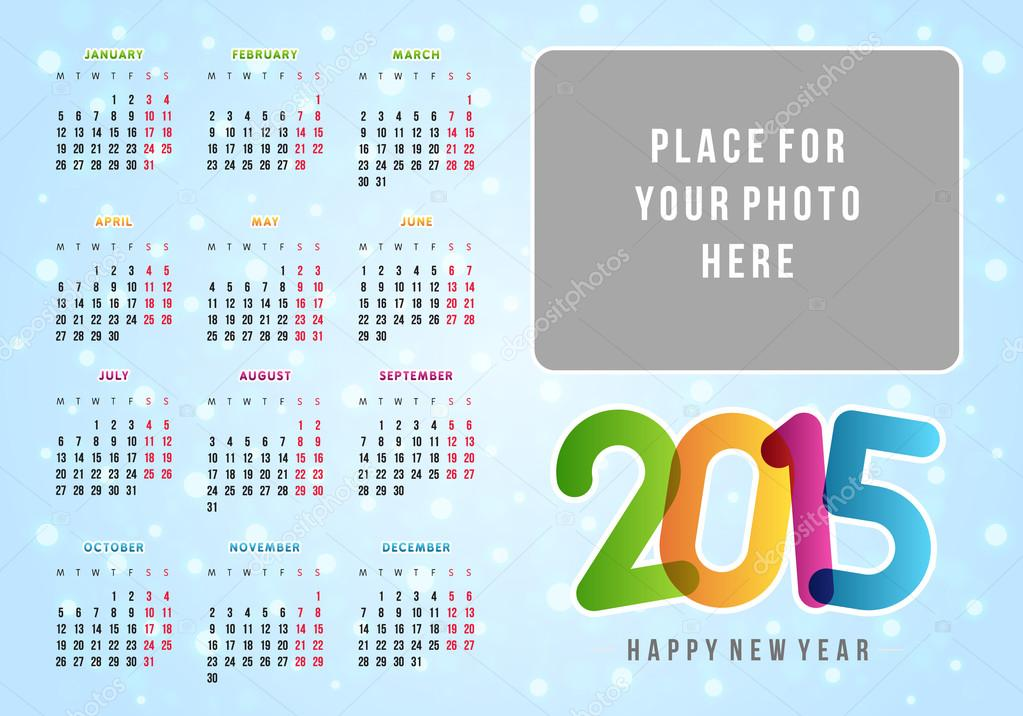 plantilla de diseño vector calendario 2015 — Vector de stock ...