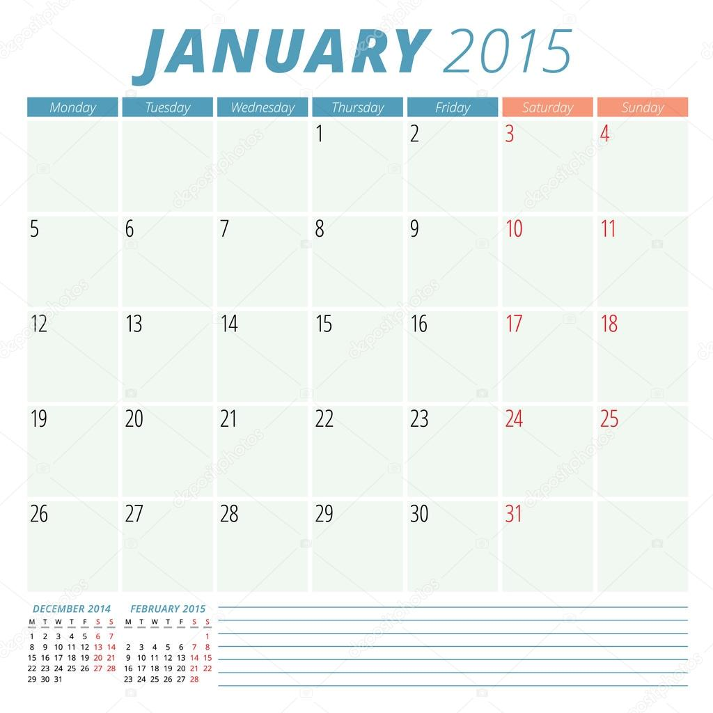 calendario planificador 2015 vector diseño plantilla enero — Archivo ...