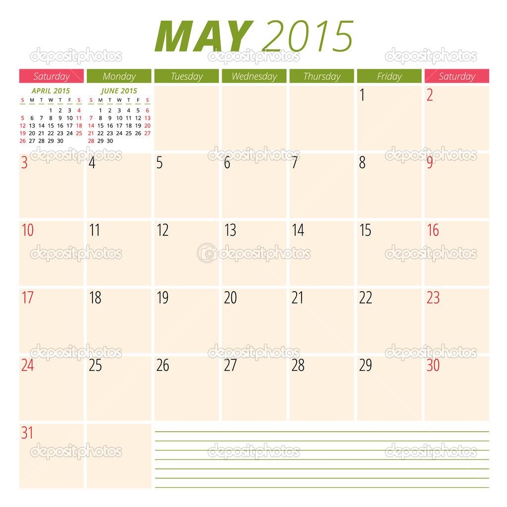 planificador de calendario 2015 plantilla semana comienza el domingo ...