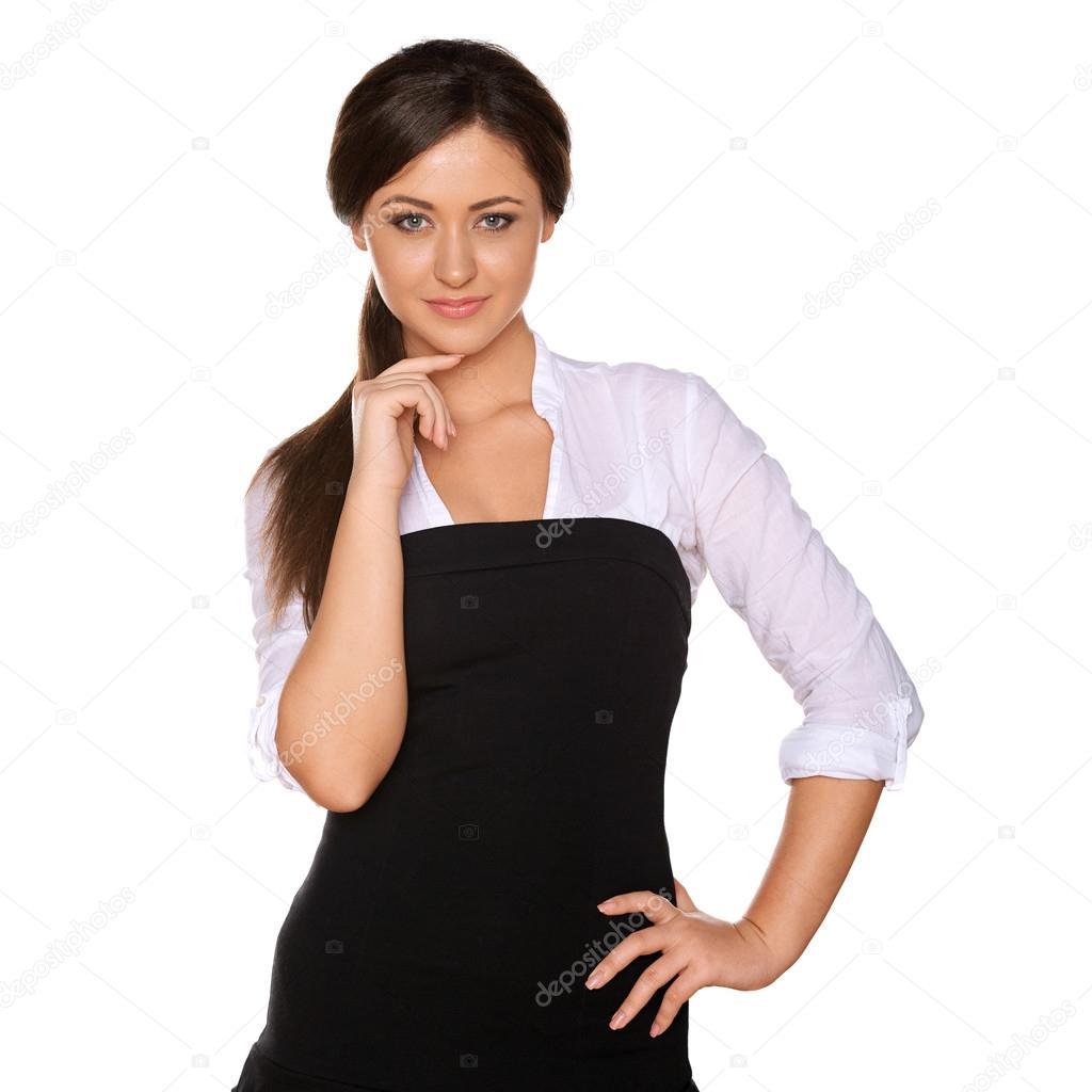 Estrecha Blanca Negra Y Camisa Mujer En Una Joven Falda 4pwqIR8