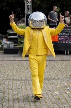 Disco Ball Man dancing in the street