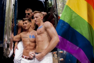 Participants at the gay pride posing for pictures