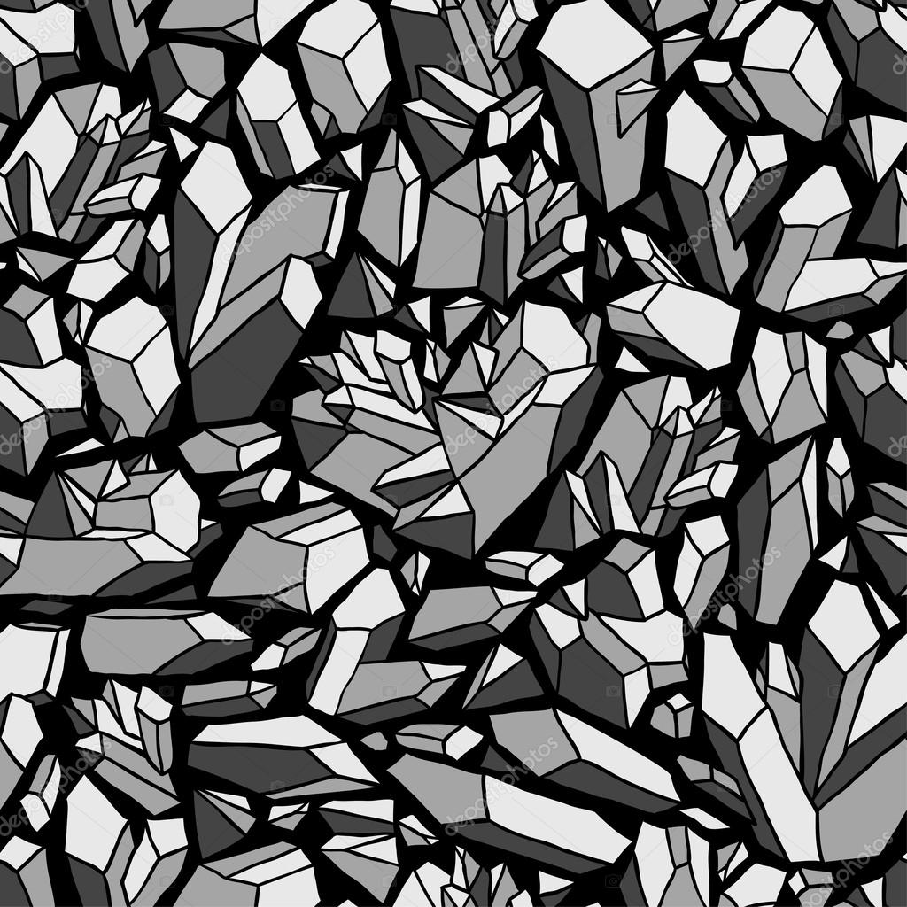 Seamless vector pattern with crystals, black and white