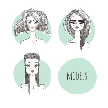 Vector illustration models on a mint background