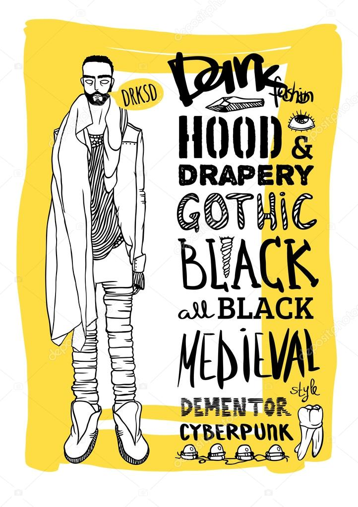 ベクトル黒、白と黄色の落書きセット、暗いファッション