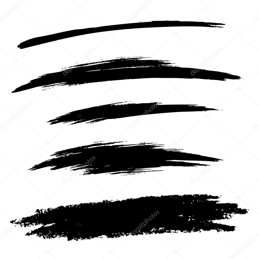 Vector Drawing Lines Definition : Set of hand drawn grunge brush lines — stock vector