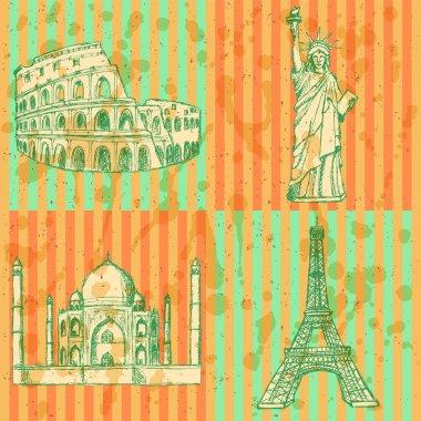 Sketch Eiffel tower, Coliseum,Taj Mahal and Statue of Liberty, v