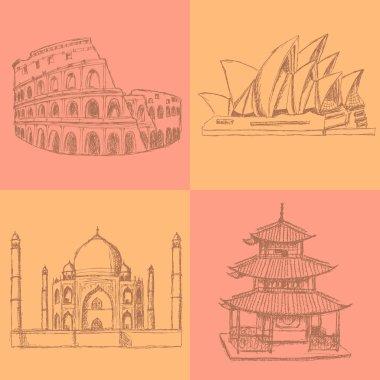 Sketch Chinese temple, Coliseum,Taj Mahal and Sydney opera, vect