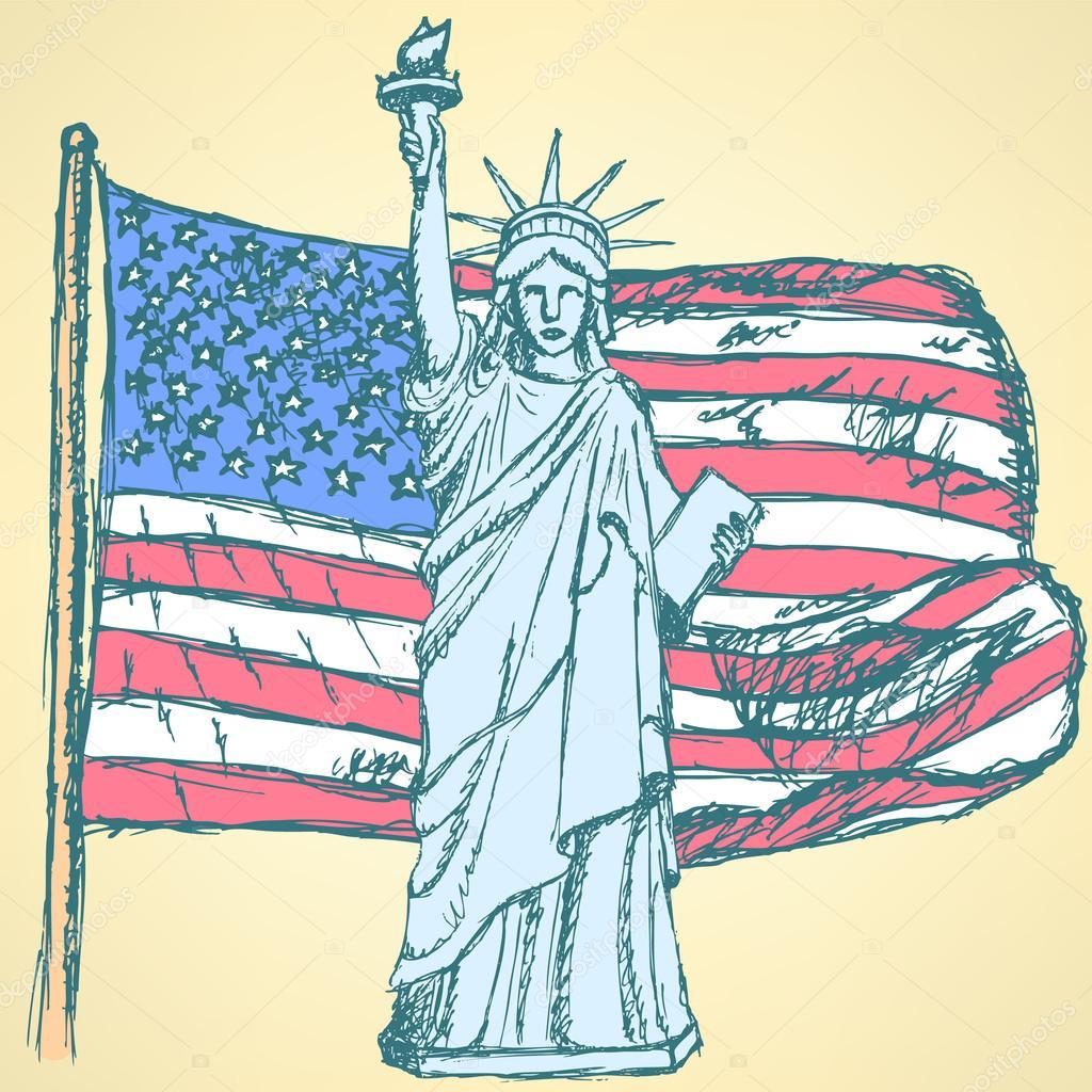dibujar la bandera de Estados Unidos y la estatua de la libertad ...