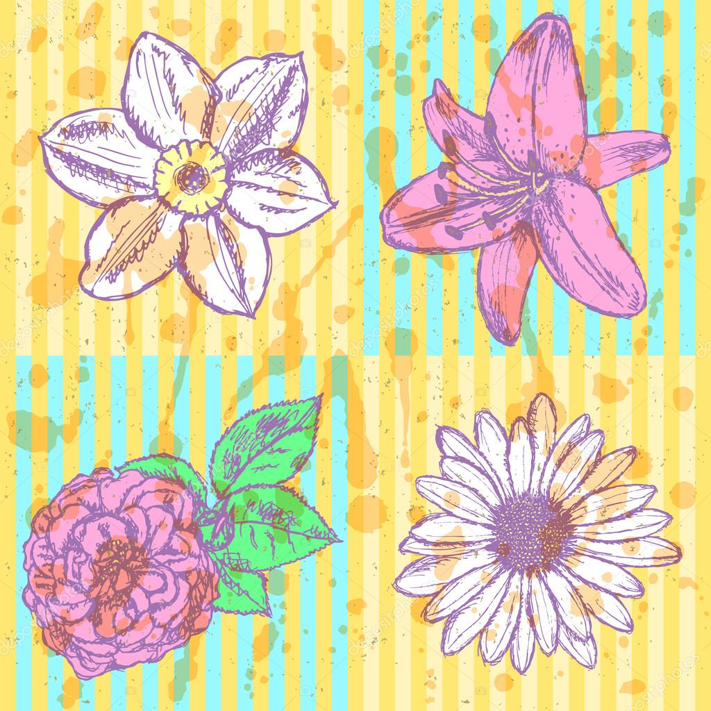 Lily, daisy and rose, narcissus  sketch, vector seamless pattern