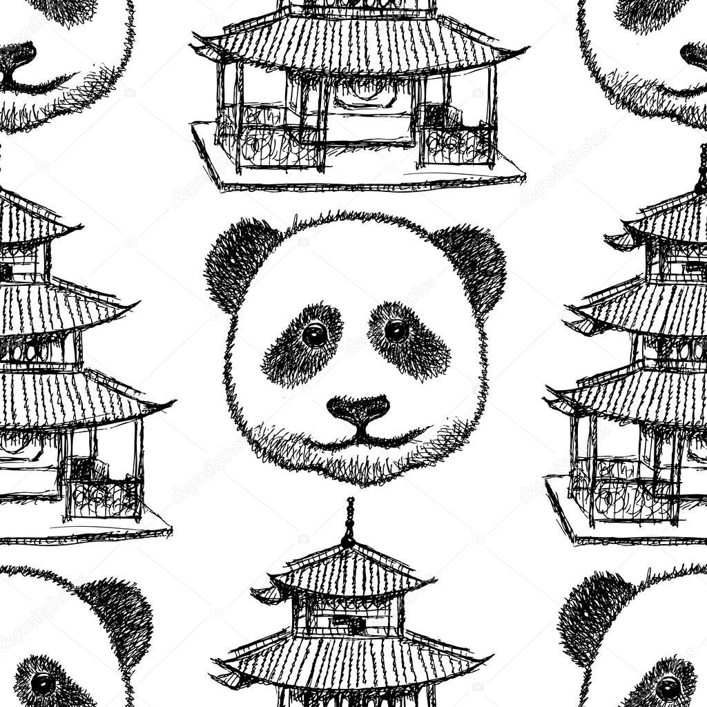 bosquejo Templo Chino y panda, de patrones sin fisuras vector ...