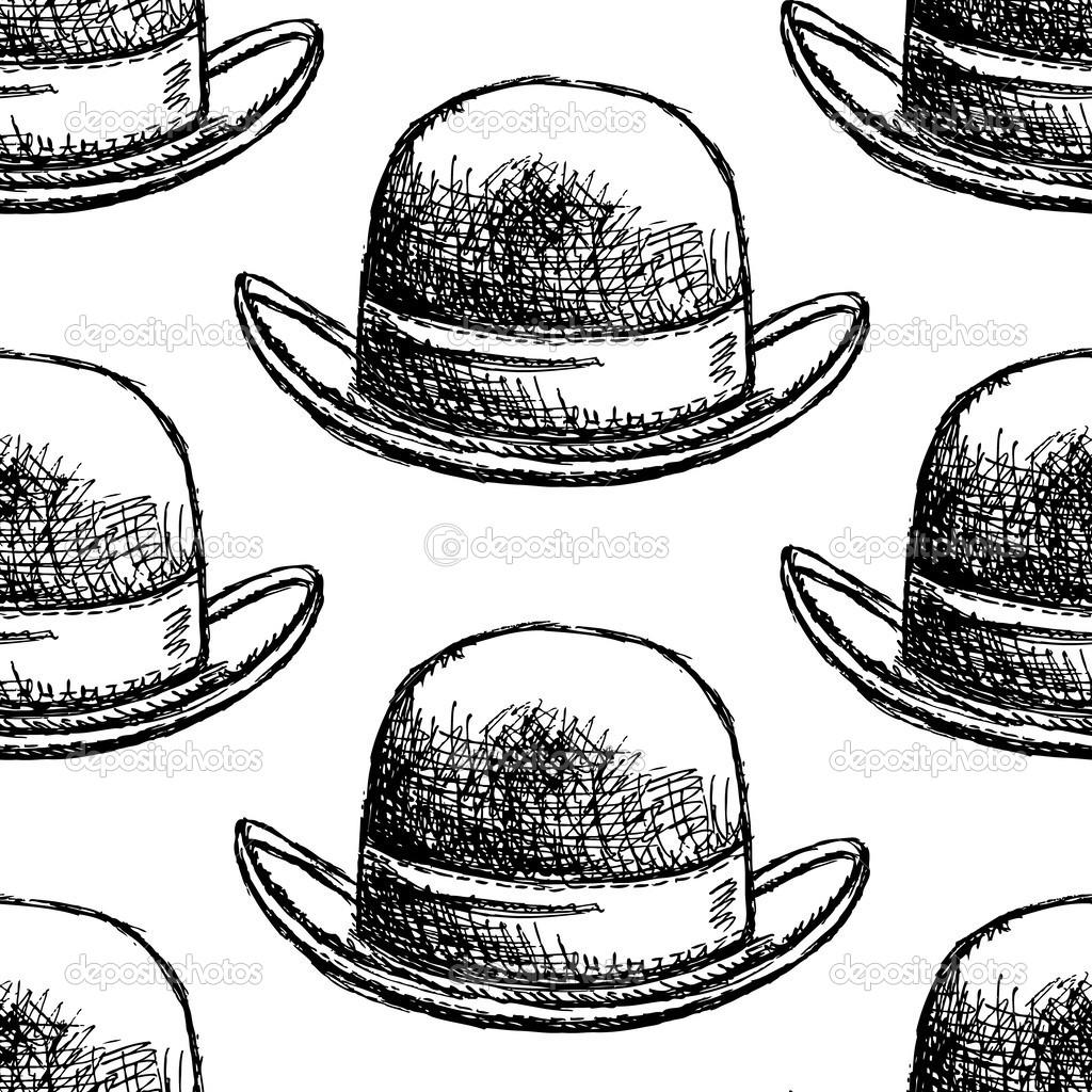 bosquejo caballeros retro sombrero, vector patrón sin costuras ...