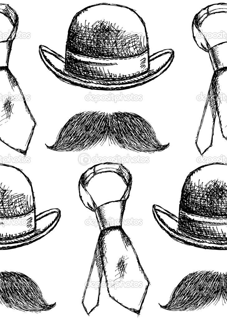 boceto sombrero, corbata y bigote, vector patrón sin costuras ...