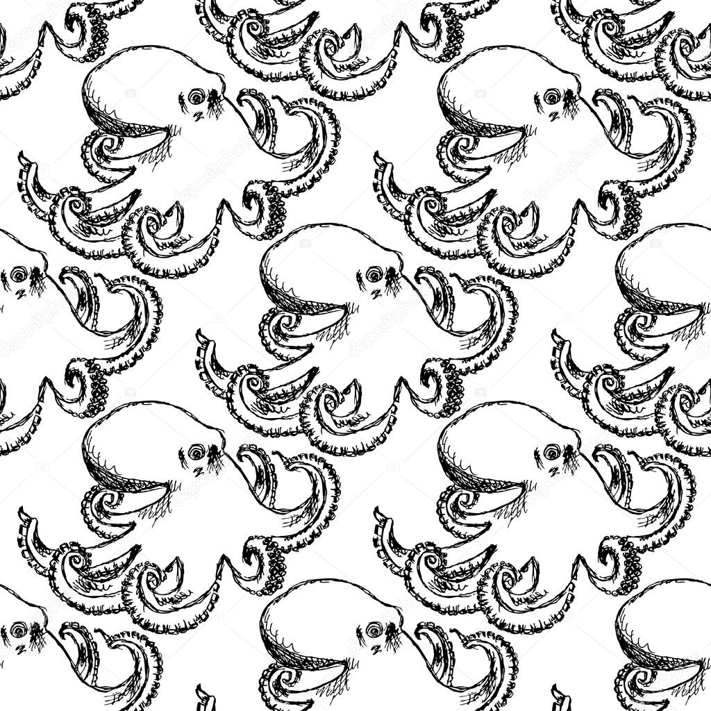 Sketch octopus, vector vintage seamless pattern