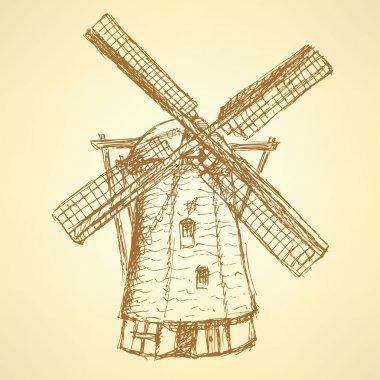 Sketch Holand windmill, vector vintage background