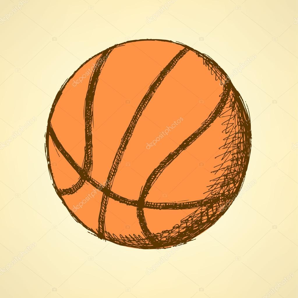 desenho de bola de basquete vector fundo vintage vetores de stock