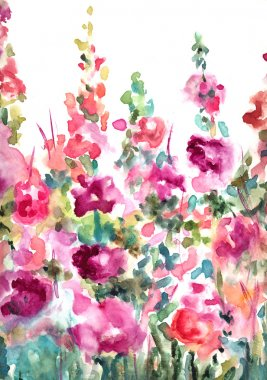 Abstract Watercolor Floral Background Landscape
